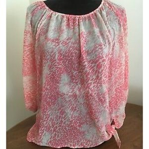 Pink and White leopard print blouse